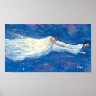 Paloma del blanco del ángel póster