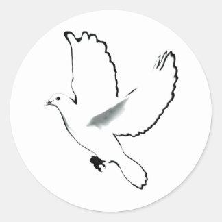 Paloma del blanco pegatina redonda