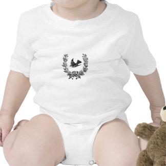 paloma del diseño de la tipografía del vintage y traje de bebé