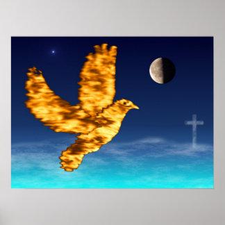 Paloma del Espíritu Santo - cielo nocturno Póster