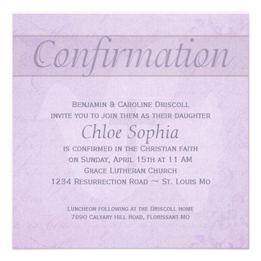 Paloma del Espíritu Santo de la confirmación y lil Invitaciones Personalizada