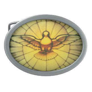 Paloma del Espíritu Santo Hebilla De Cinturon Oval