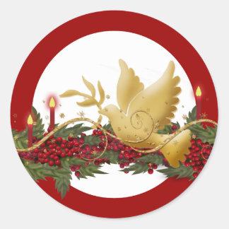 Paloma del navidad del oro de las velas de la paz pegatinas redondas