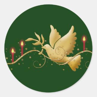 Paloma del navidad del oro de las velas de la paz pegatina redonda