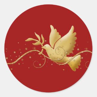 Paloma del navidad del oro del palillo cristiano d pegatinas redondas