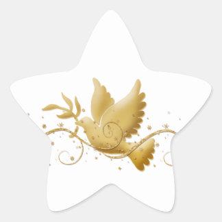 Paloma del navidad del oro del palillo cristiano calcomanías forma de estrella personalizadas