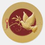 Paloma del navidad del oro del palillo cristiano etiquetas redondas