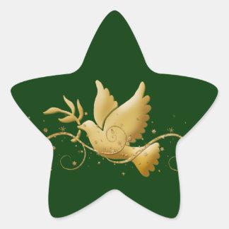 Paloma del navidad del oro del palillo cristiano pegatina en forma de estrella