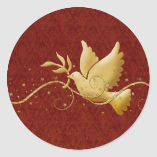 Paloma del navidad del oro del palillo cristiano pegatina redonda
