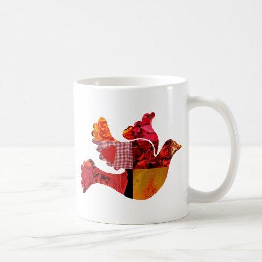 Paloma del rojo taza