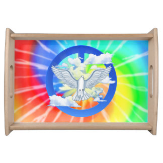 Paloma del teñido anudado de la paz bandejas