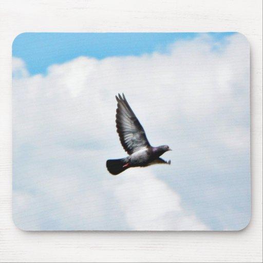 Paloma del vuelo en el cielo tapetes de raton