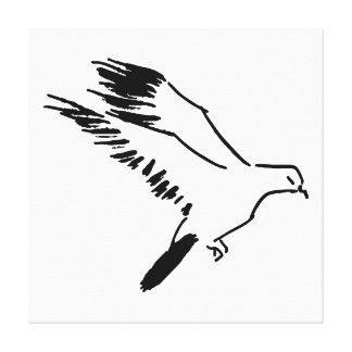 Paloma - dibujo lineal blanco y negro impresión en lienzo