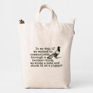 Paloma divertida del pájaro del gorjeo de la edad bolsa de lona duck