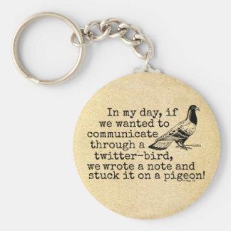 Paloma divertida del pájaro del gorjeo de la edad llavero redondo tipo chapa