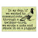 Paloma divertida del pájaro del gorjeo de la edad tarjeta de felicitación