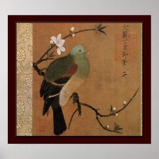 Paloma en el floral japonés del vintage del árbol poster