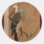 Paloma en el floral japonés del vintage del árbol pegatina redonda