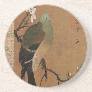 Paloma en el floral japonés del vintage del árbol posavasos personalizados