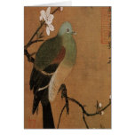 Paloma en el floral japonés del vintage del árbol tarjeta de felicitación