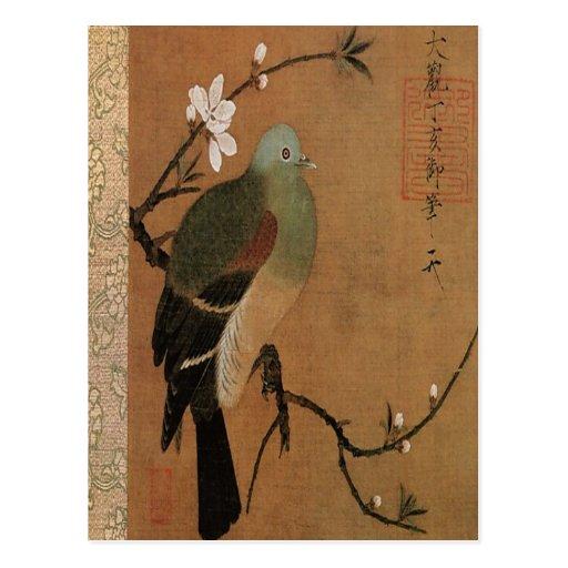 Paloma en el floral japonés del vintage del árbol postal