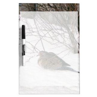 Paloma en la nieve tableros blancos