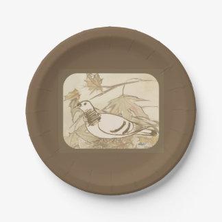 Paloma en las maderas plato de papel de 7 pulgadas