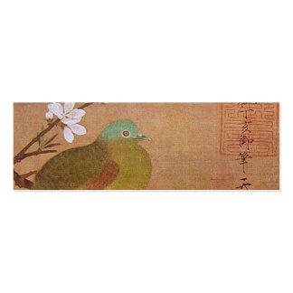 Paloma en una rama del melocotón tarjetas de visita mini