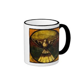 paloma en vitral taza de café