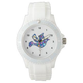 Paloma floral azul de flores relojes de mano