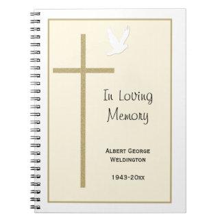 Paloma fúnebre conmemorativa de la cruz del cuader cuaderno