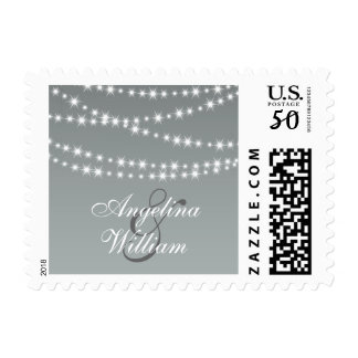 Paloma Gray Twinkle Lights Bride & Groom Stamp