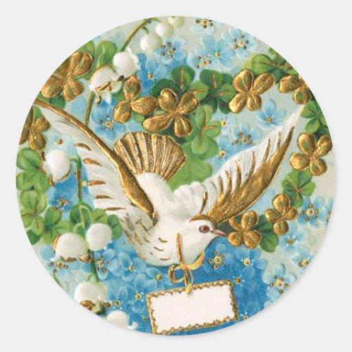 Paloma pacífica hermosa del blanco pegatinas redondas