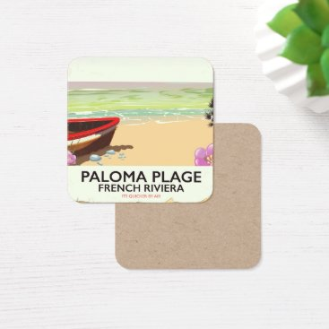 Beach Themed Paloma Plage, French Riviera travel poster Square Business Card