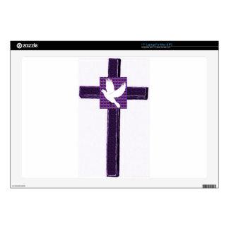 Paloma púrpura de la cruz y del blanco calcomanía para 43,2cm portátil