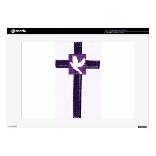 Paloma púrpura de la cruz y del blanco skins para portátiles