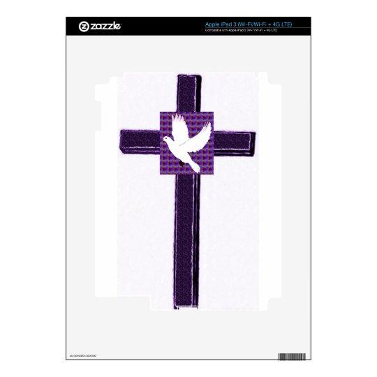 Paloma púrpura de la cruz y del blanco pegatinas skins para iPad 3
