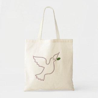 Paloma que vuela y hoja verde bolsa tela barata