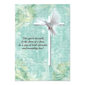 Paloma religiosa de la confirmación invitación 12,7 x 17,8 cm