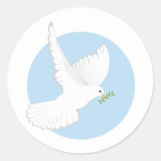 Paloma religiosa pegatina redonda