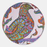 paloma Rojo-cargada en cuenta Etiquetas Redondas