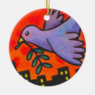 Paloma urbana adorno navideño redondo de cerámica