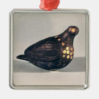 Paloma votiva adorno cuadrado plateado