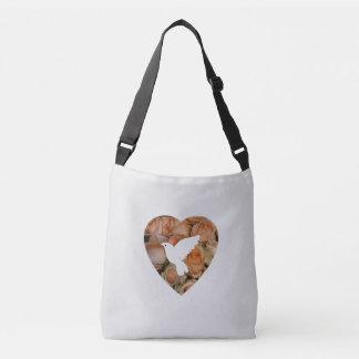 Paloma y corazón del blanco bolsa cruzada