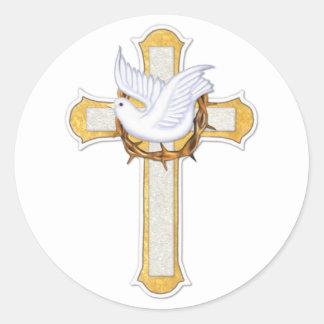 Paloma y cruz etiquetas redondas