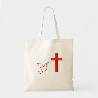 Paloma y cruz que vuelan bolsa tela barata