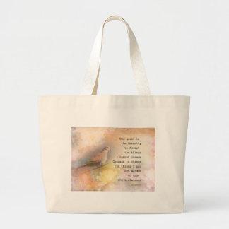 Paloma y flores del rezo de la serenidad bolsa de tela grande