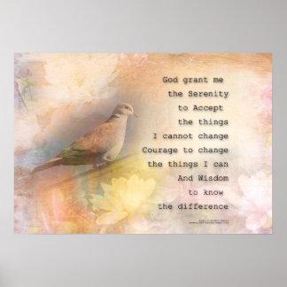 Paloma y flores del rezo de la serenidad póster