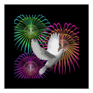 Paloma y fuegos artificiales del blanco perfect poster