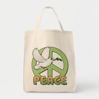 Paloma y símbolo de paz bolsa tela para la compra